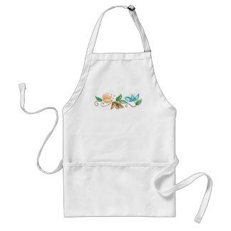 Spiral Floral Embroidery Design Standard Apron