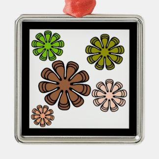 Spiral Flower Camouflage Art Metal Ornament