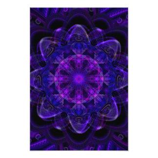 Spiral Flower Fractal Dark Purple UV Pixel Photo Print