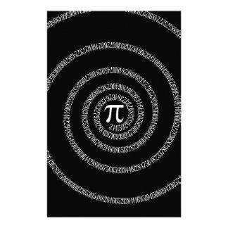 Spiral for Pi on Black Stationery