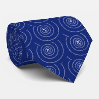Spiral for Pi on Navy Blue Tie