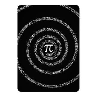 Spiral for Pi on Solid Black 13 Cm X 18 Cm Invitation Card