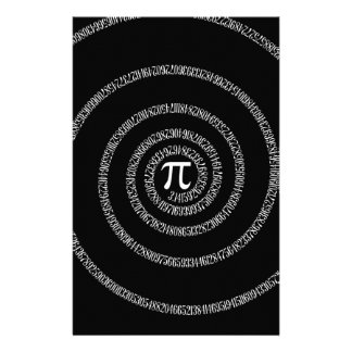 Spiral for Pi Typography on Black Customized Stationery