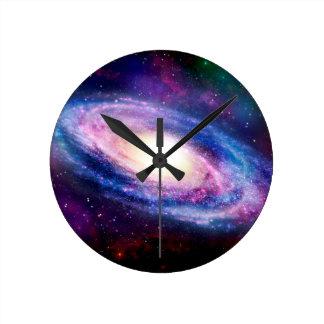 Spiral galaxy round clock