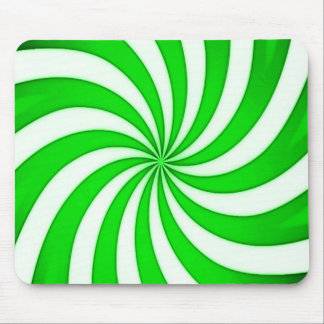 Spiral Green Candy Cane Stripes Pattern Mouse Pad