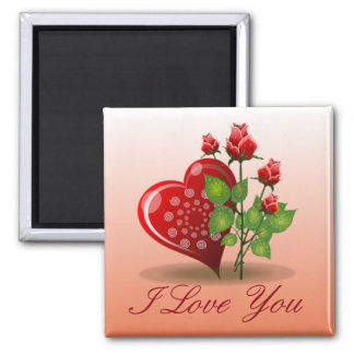 Spiral Heart and Red Rose Magnet