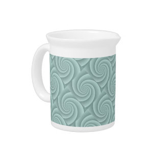 Spiral in Aqua Brushed Metal Texture Print Beverage Pitchers