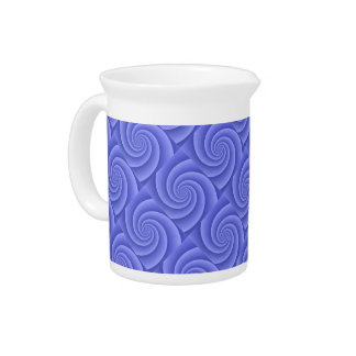 Spiral in Blue Brushed Metal Texture Print Pitcher