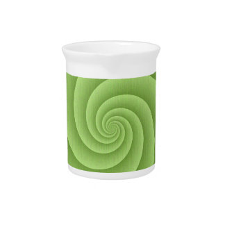Spiral in Green Brushed Metal Texture Print Drink Pitchers
