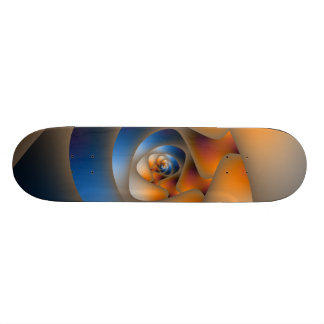 Spiral Labyrinth in Blue and Orange Skateboard