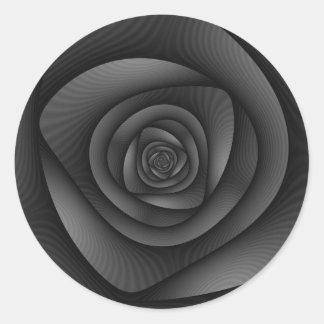 Spiral Labyrinth in Monochrome Round Sticker