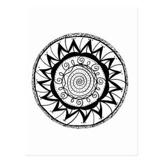 Spiral Mandala Flower Postcard