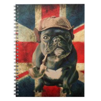 Spiral Notebook Bulldog Design