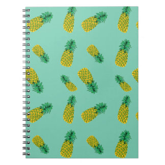 Spiral Notebook with Pineapple Pattern