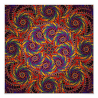 Spiral Octopus Psychedelic Rainbow Fractal Art Photographic Print