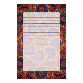 Spiral Octopus Psychedelic Rainbow Fractal Art Stationery Paper
