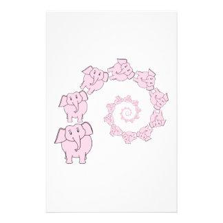 Spiral of Pink Elephants. Fun Cartoon. Flyer