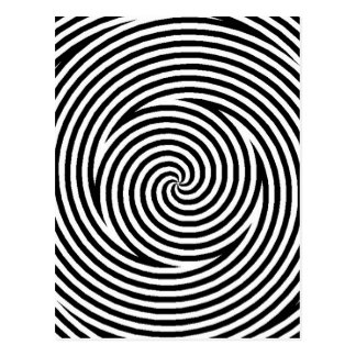 Spiral Optical Illusion Black White Circles Spin Postcard