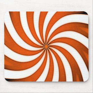 Spiral Orange Candy Cane Stripes Pattern Mouse Pad