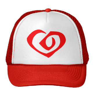 Spiral Pattern Red Heart Mesh Hats