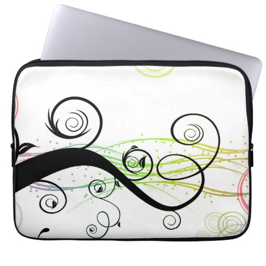 Spiral Pattern with Leaves and Circles Laptop Sleeve
