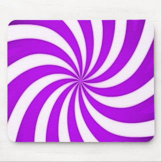 Spiral Purple Candy Cane Stripes Pattern Mouse Pad