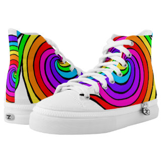 Spiral Rainbow Colourful High Top Shoes Printed Shoes