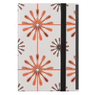 Spiral Retro Flowers Choose Your Background Color iPad Mini Cover