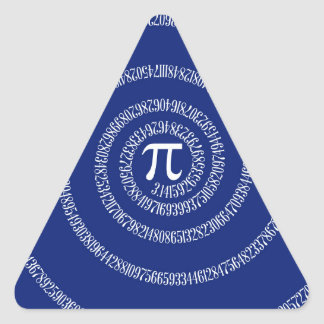 Spiral Rings for Pi on Navy Blue Triangle Sticker