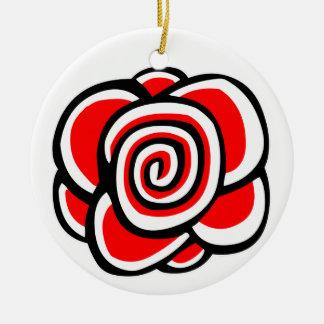 Spiral Rose Round Ceramic Decoration