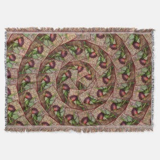 Spiral Rustic Red Textured Grunge Rose On Wood Throw Blanket