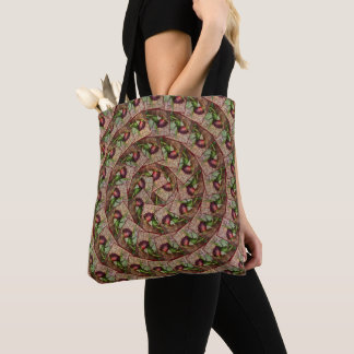Spiral Rustic Red Textured Grunge Rose On Wood Tote Bag
