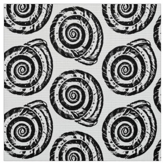 Spiral Seashell Block Print, Black and White Fabric