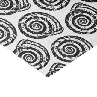 Spiral Seashell Block Print, Black and White Tissue Paper