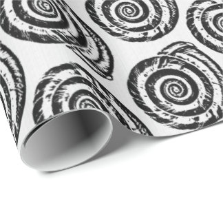 Spiral Seashell Block Print, Black and White Wrapping Paper
