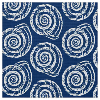 Spiral Seashell Block Print, Cobalt Blue and White Fabric