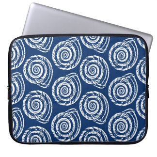 Spiral Seashell Block Print, Cobalt Blue and White Laptop Sleeve