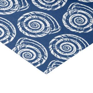 Spiral Seashell Block Print, Cobalt Blue and White Tissue Paper