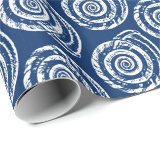 Spiral Seashell Block Print, Cobalt Blue and White Wrapping Paper