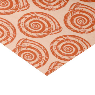 Spiral Seashell Block Print, Coral Orange Tissue Paper