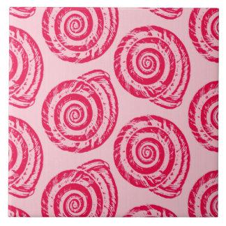 Spiral Seashell Block Print, Coral Pink & Fuchsia Ceramic Tile