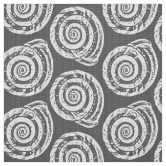 Spiral Seashell Block Print, Gray / Grey and White Fabric