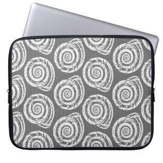 Spiral Seashell Block Print, Gray / Grey and White Laptop Sleeve