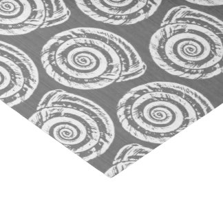 Spiral Seashell Block Print, Gray / Grey and White Tissue Paper