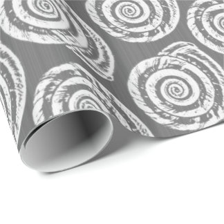 Spiral Seashell Block Print, Gray / Grey and White Wrapping Paper