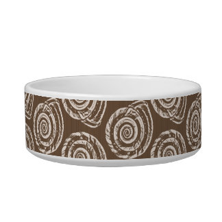 Spiral Seashell Block Print, Taupe Tan and Cream Bowl
