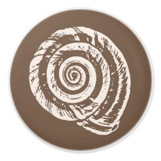 Spiral Seashell Block Print, Taupe Tan and Cream Ceramic Knob