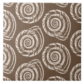 Spiral Seashell Block Print,Taupe Tan and Cream Large Square Tile
