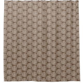 Spiral Seashell Block Print, Taupe Tan and Cream Shower Curtain