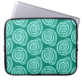 Spiral Seashell Block Print, Turquoise and Aqua Laptop Sleeve